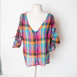 NEW Anthropologie Maeve plaid pink shirt XS